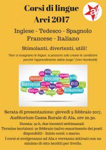 Locandina corsi lingue Arci 2017 - fronte
